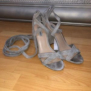 Steve Madden Suede Lace Up Heels Grey Taupe